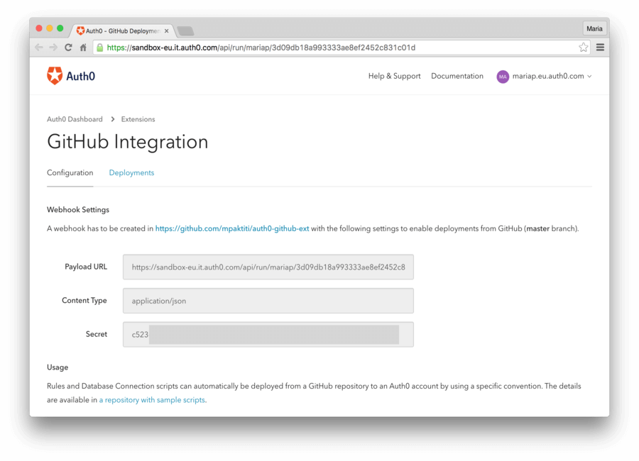 Dashboard - Extensions - GitHub Deploy - Configure Extension