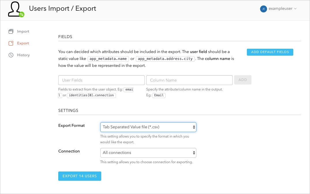 Dashboard - Extensions - User Import/Export Extension Set Format