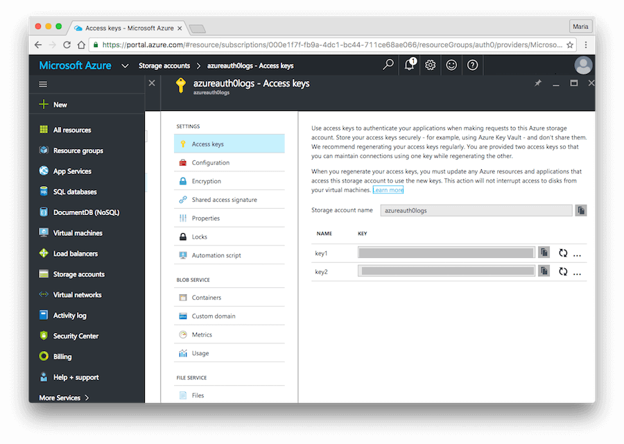 Dashboard - Extensions - Azure - Storage Account Key