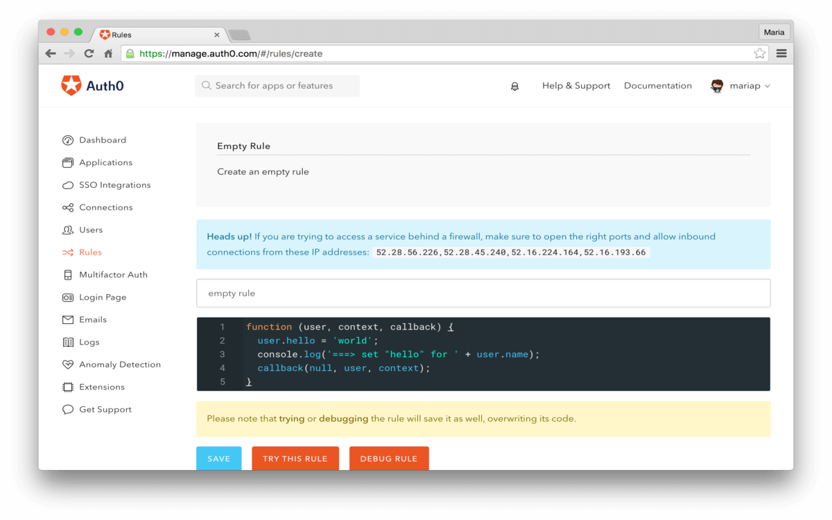Dashboard - Extensions - Realtime Webtask Logs - Create New Rule