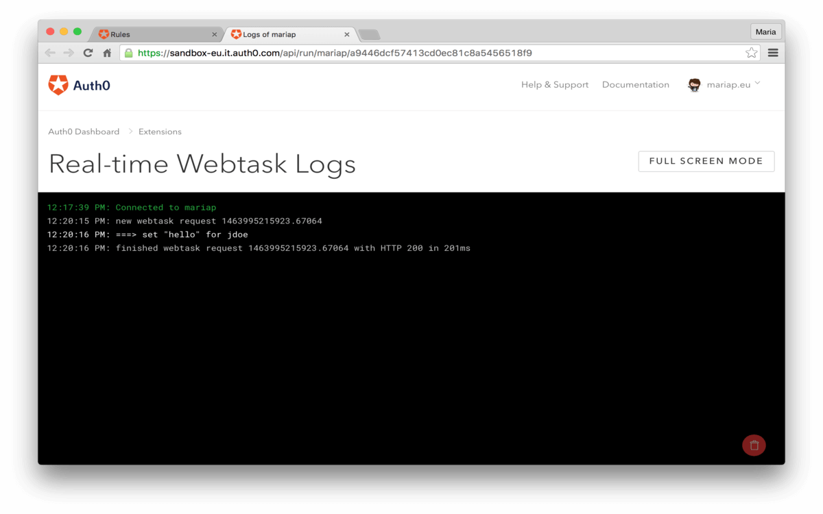Dashboard - Extensions - Realtime Webtask Logs - View Rules Example