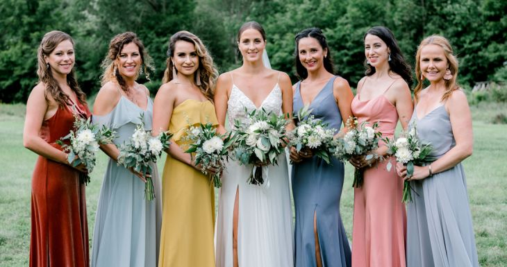 Colorful Bridesmaids in Woodstock