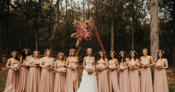 Bridesmaids in Mix and Match Whipped Apricot