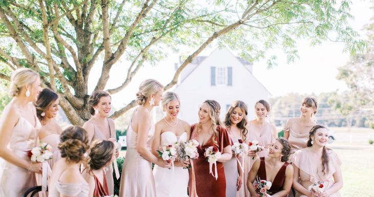 Pink Hues and Pops of English Rose Bridesmaids