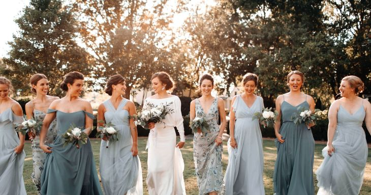 Mix and Match Blue Bridesmaids
