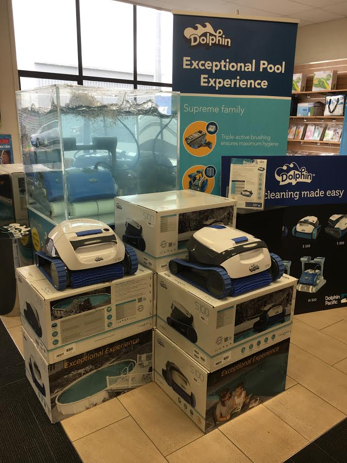 Dolphin robots at the Waikato Filtration pool shop in Hamilton Central, New Zealand