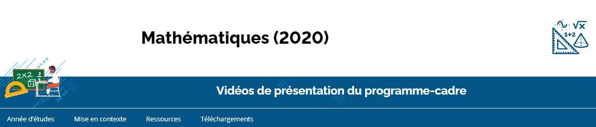 Le curriculum de l'Ontario, de la 1<sup>re</sup> à la 8<sup>e</sup> année - Mathématiques (2020)