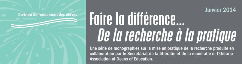 Faire la différence : Favoriser la collaboration des familles dans le développement de la littératie chez l'enfant n<sup>o</sup> 47
