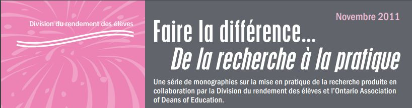 Faire la différence : Appuyer l'apprentissage du langage et de la littératie chez la petite enfance, n° 37