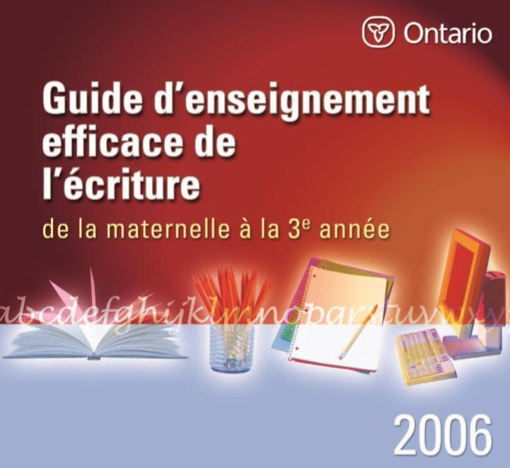 Guide d'enseignement efficace de l'écriture de la maternelle à la 3<sup>e</sup> année
