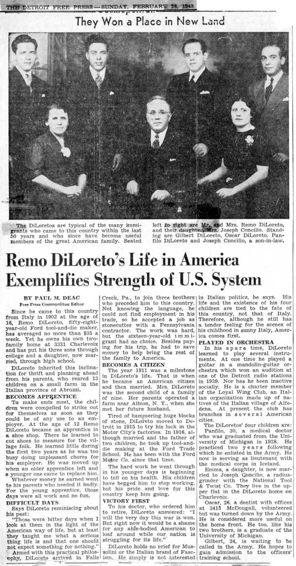 1943 Detroit Free Press Article