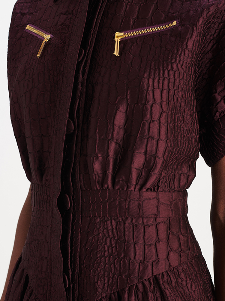 LOOK21 P1 ALLIGATOR JACQUARD DRESS AUBERGINE 03