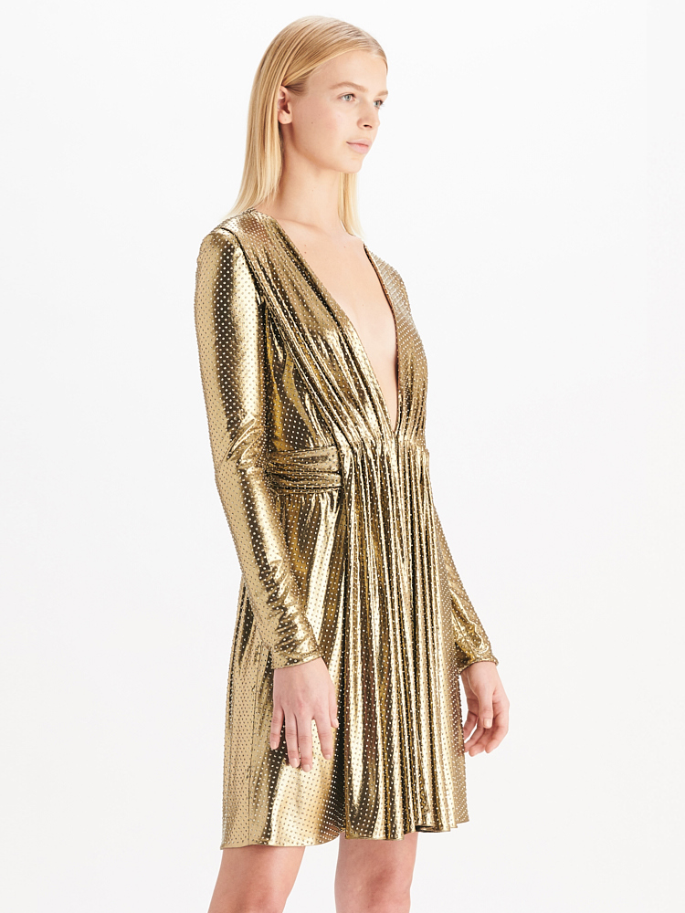 LOOK16 P1 CRYSTALLIZED LONG SLEEVE DRESS GOLD 02
