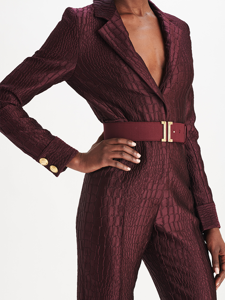 LOOK39 P1 ALLIGATOR JACQUARD JUMPSUIT AUBERGINE 03