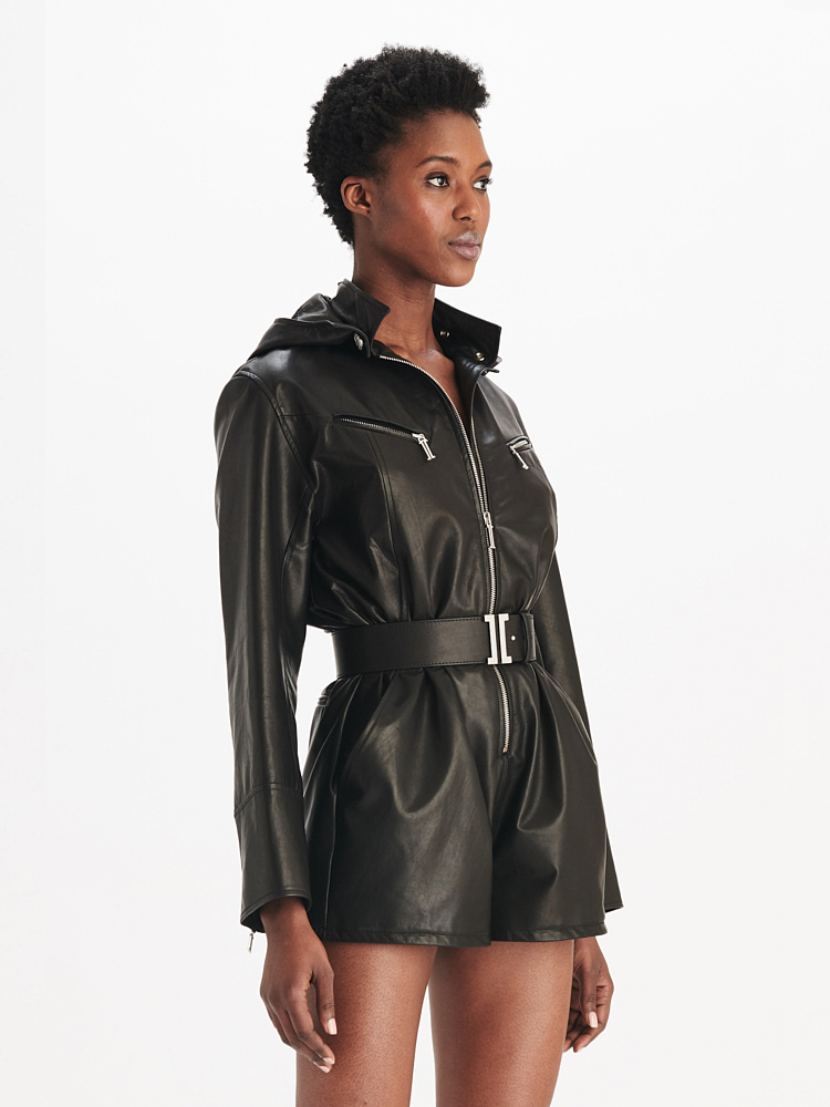 LOOK08 P1 LEATHER HOODIE ROMPER BLACK 02