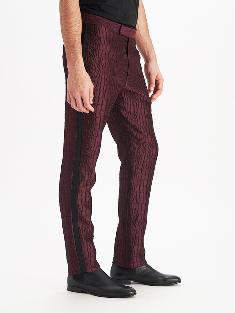 LOOK06 MENS JACQUARD SUIT PANTS AUBERGINE 02