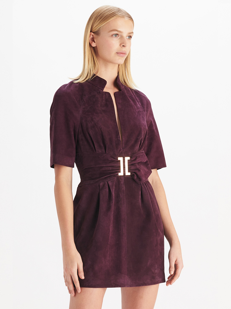 LOOK05 P1 SUEDE WAIST DRESS AUBERGINE 01