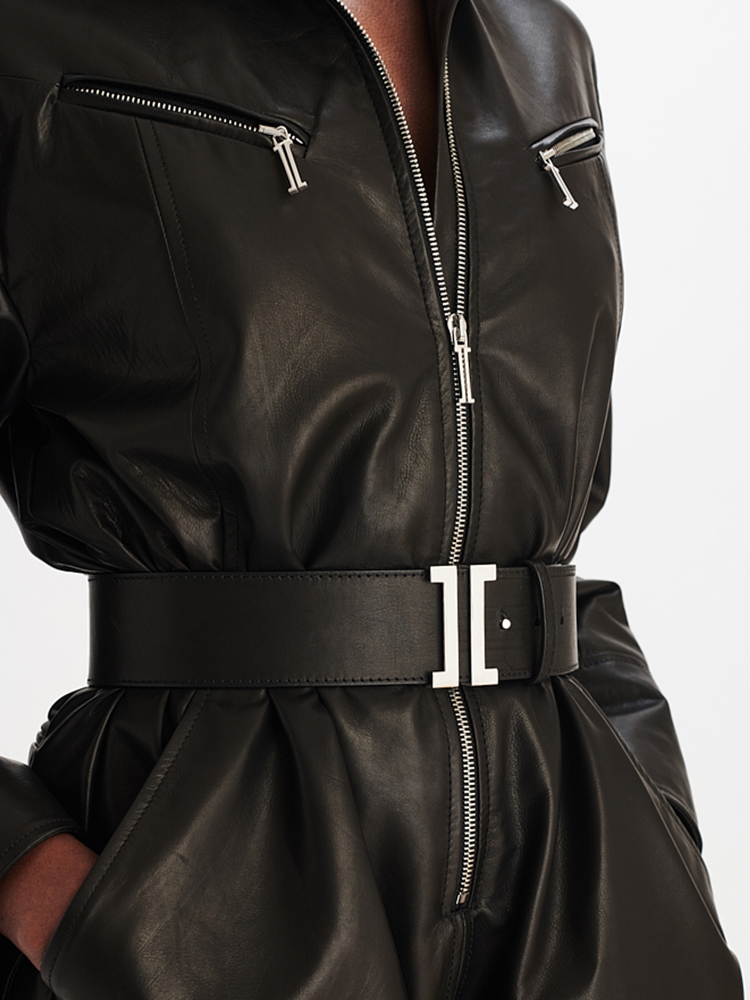 LOOK08 P1 LEATHER HOODIE ROMPER BLACK 04