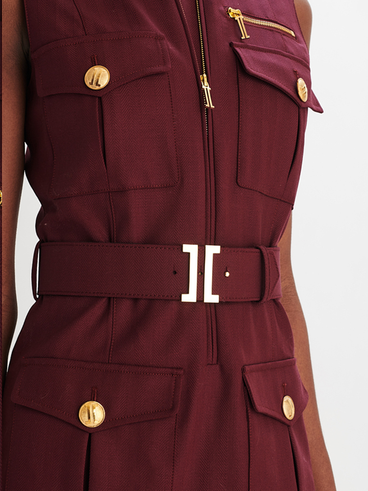 LOOK24 P1 HERRINGBONE CARGO DRESS AUBERGINE 03