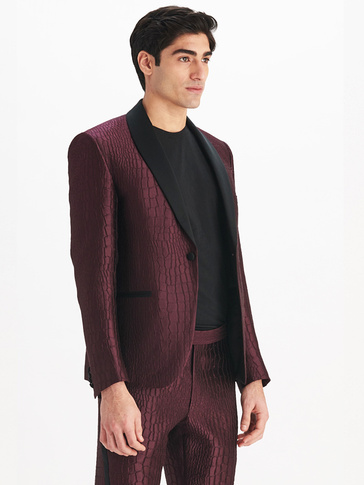 LOOK06 MENS JACQUARD SUIT JACKET AUBERGINE 02