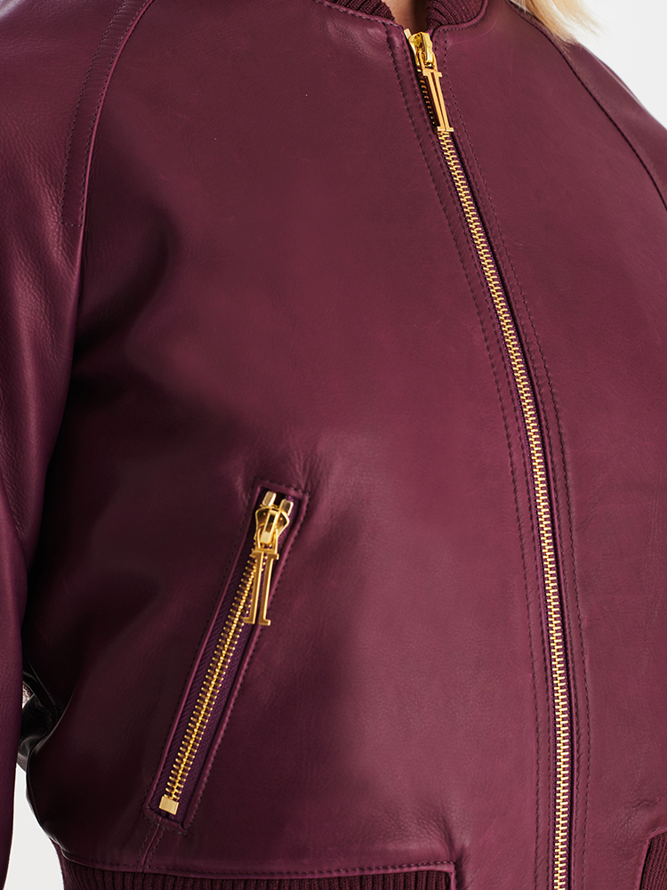 LOOK07 P1 LEATHER BOMBER AUBERGINE 03