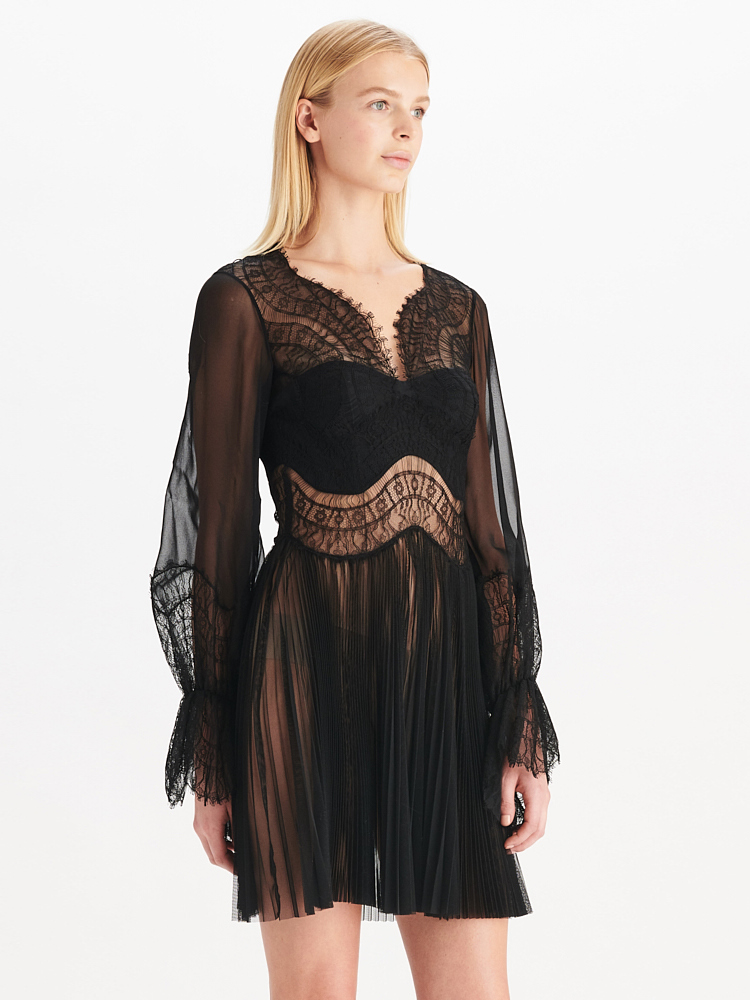 LOOK18 P1 SCALLOP TULLE LACE DRESS BLACK 01