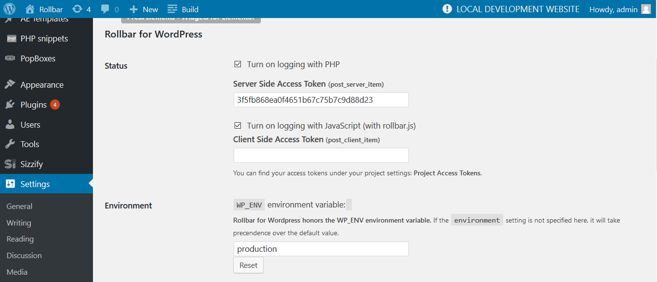 Screenshot of Rollbar WordPress config
