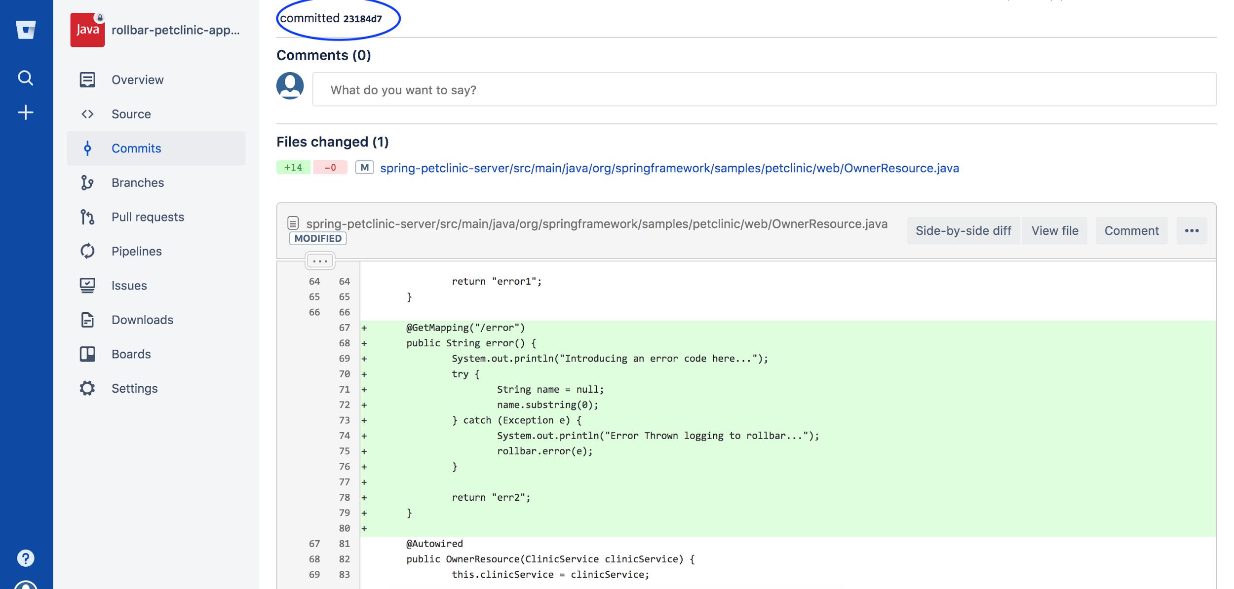 Screenshot of Rollbar deployed notification