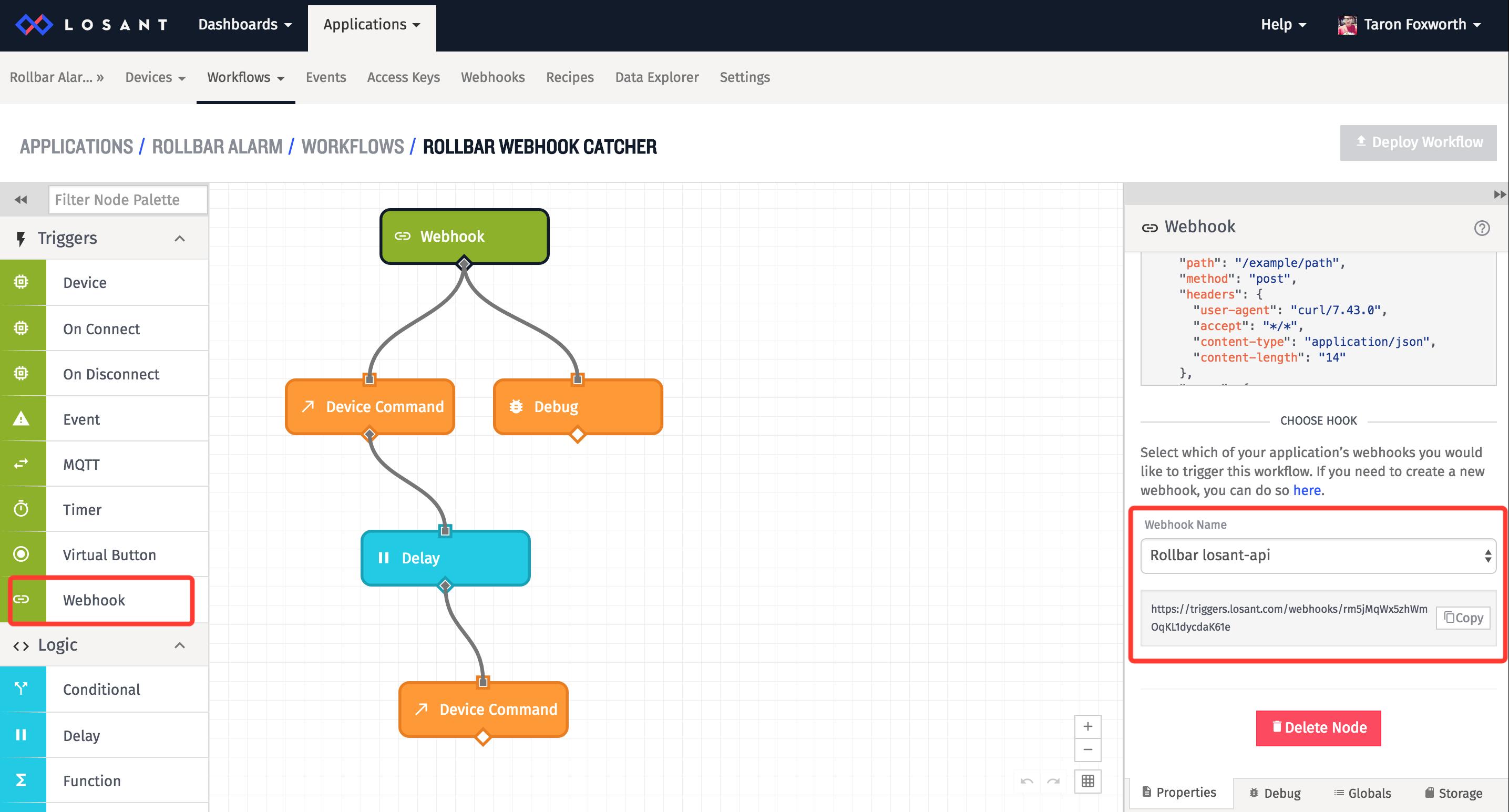 losant workflow webhook