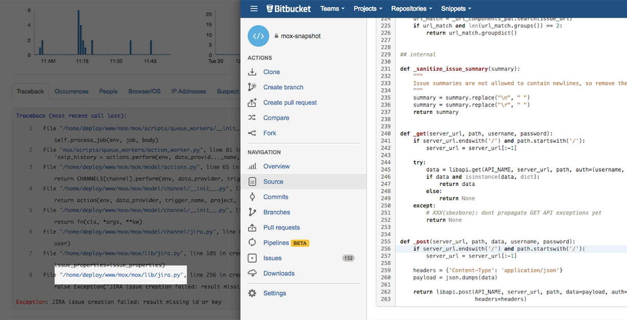 stacktrace bitbucket linked