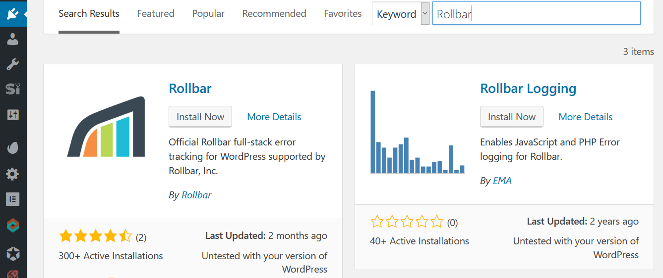 Screenshot of Rollbar WordPress plugin