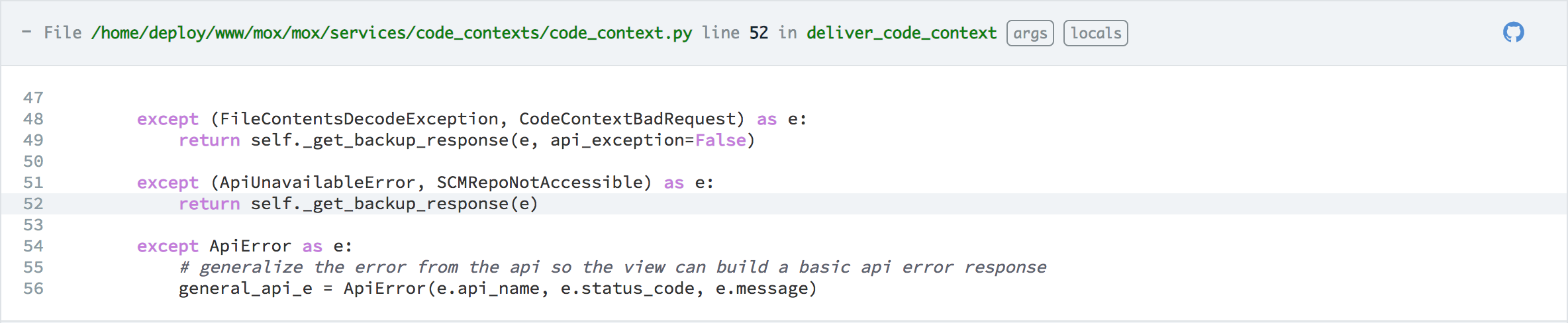 Stacktrace Enhancements - Code Context in each Traceback Frame