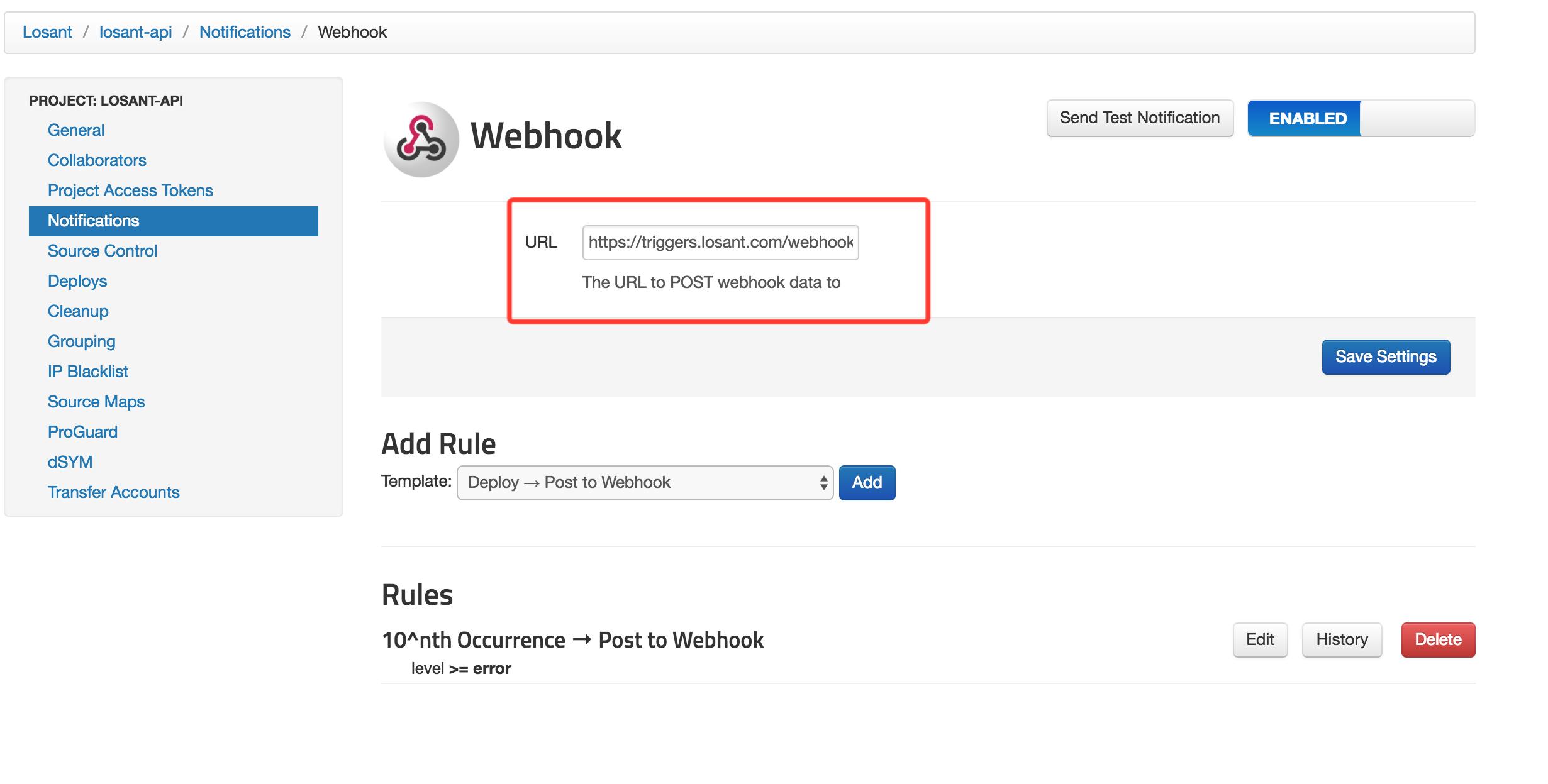 rollbar webhook