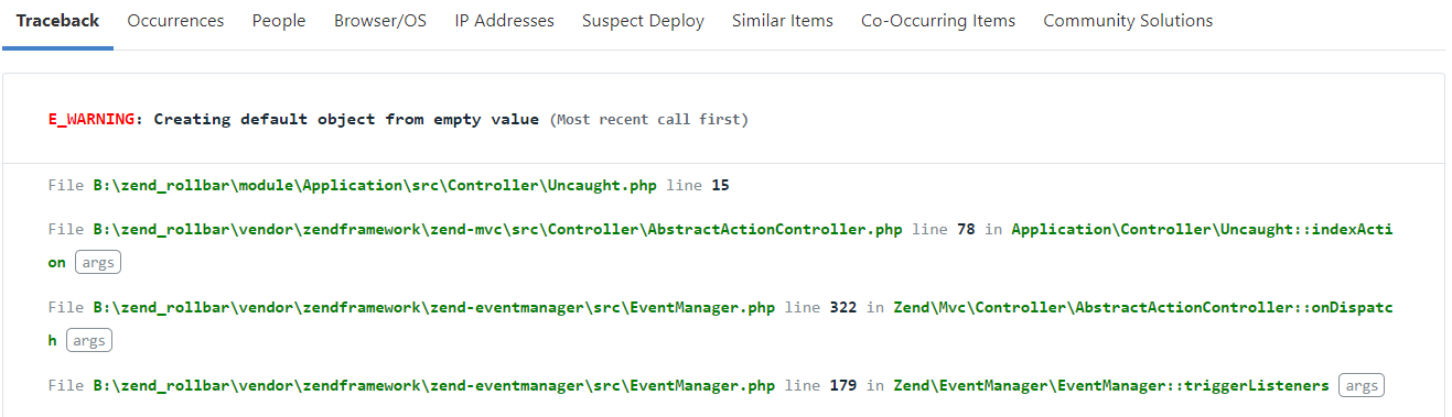 Screenshot of Rollbar zend 3 error item details
