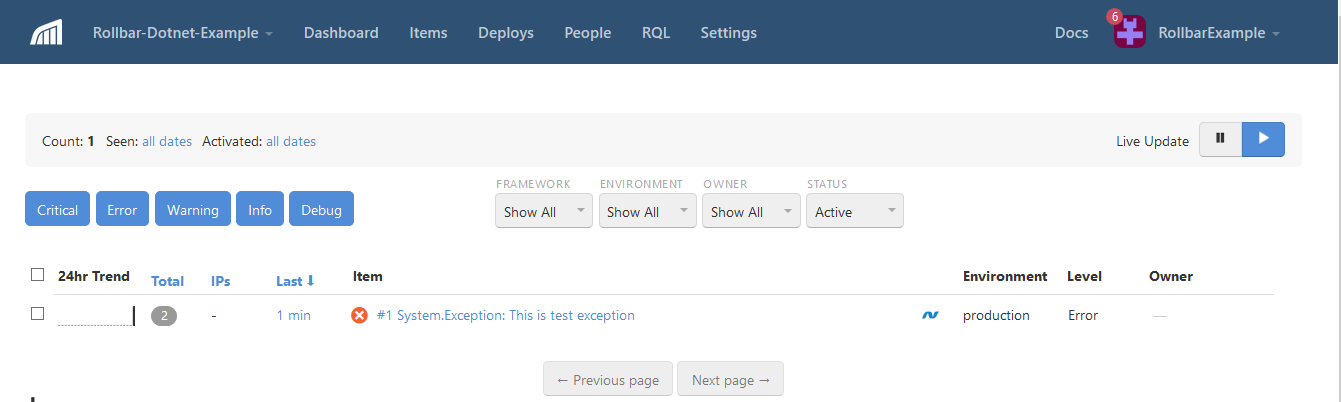 Screenshot of Rollbar .NET MVC Dashbord