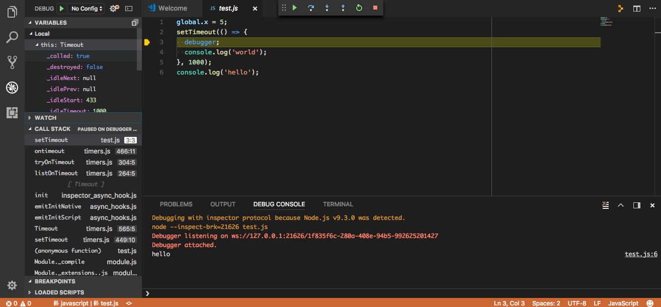 Visual Studio Code Node.js Debugger