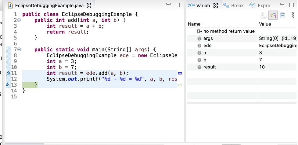 eclipse java debugging press step into