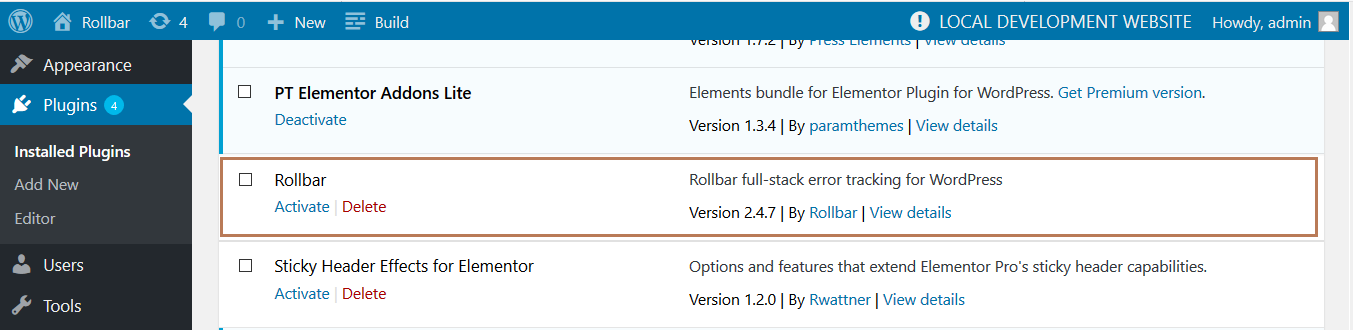 Screenshot of Rollbar WordPress install plugin