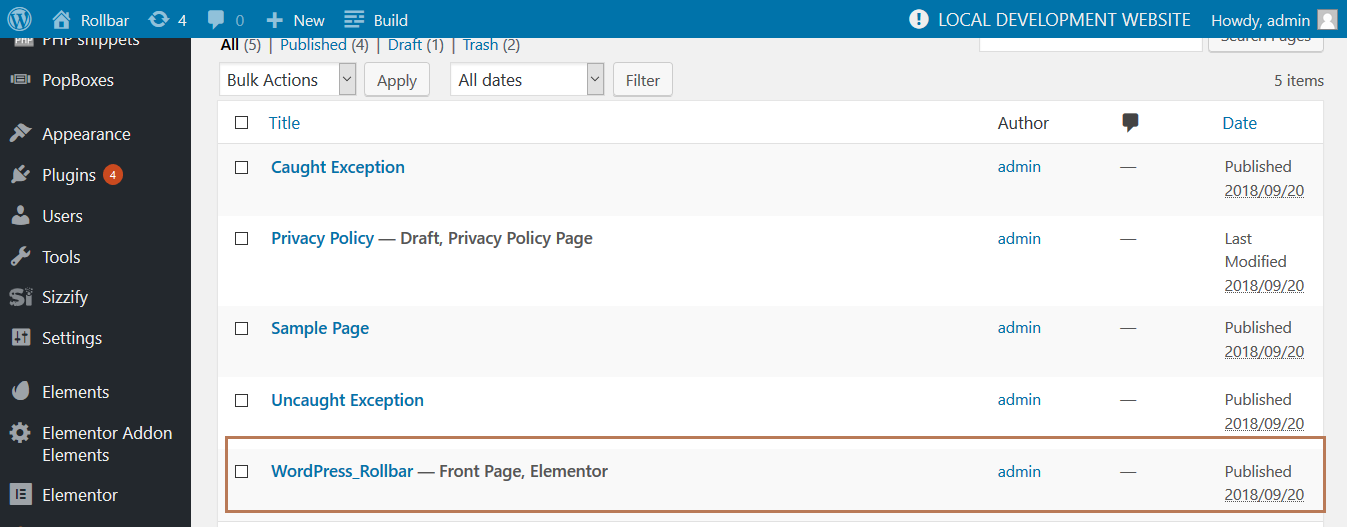 Screenshot of Rollbar WordPress example home page