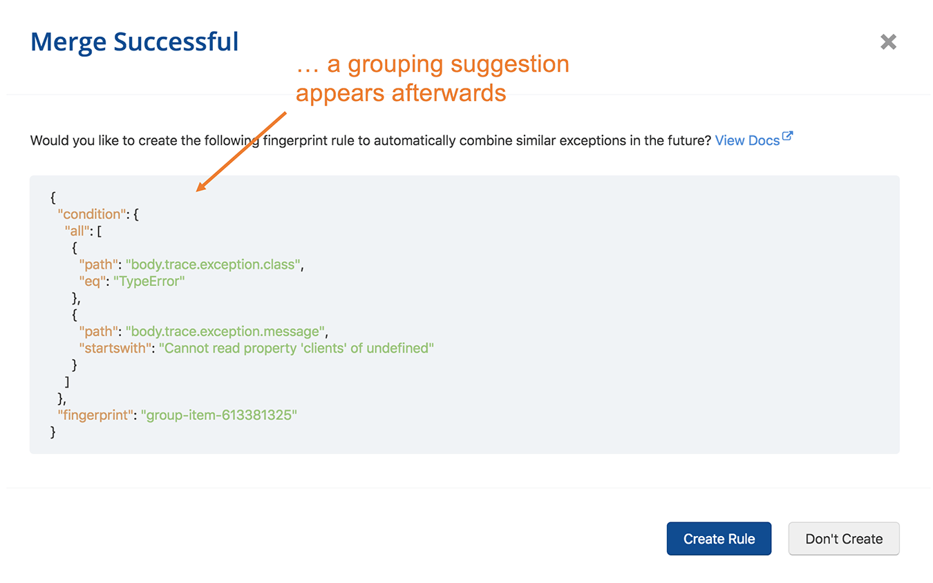 Error grouping suggestions, when accepted, can help increase signal-to-noise ratio