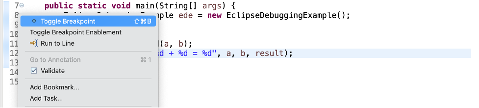 debugging java with eclipse set breakpoint