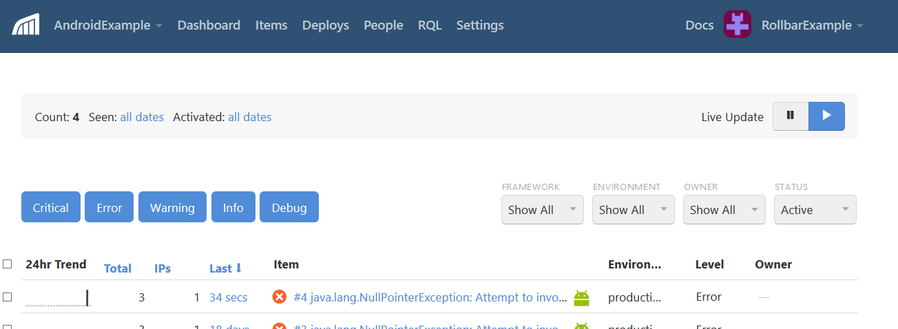 Screenshot of Rollbar android error item