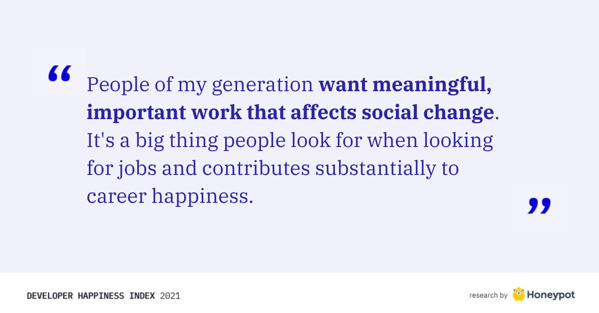 """Want meaningful, important work that affects social change"""