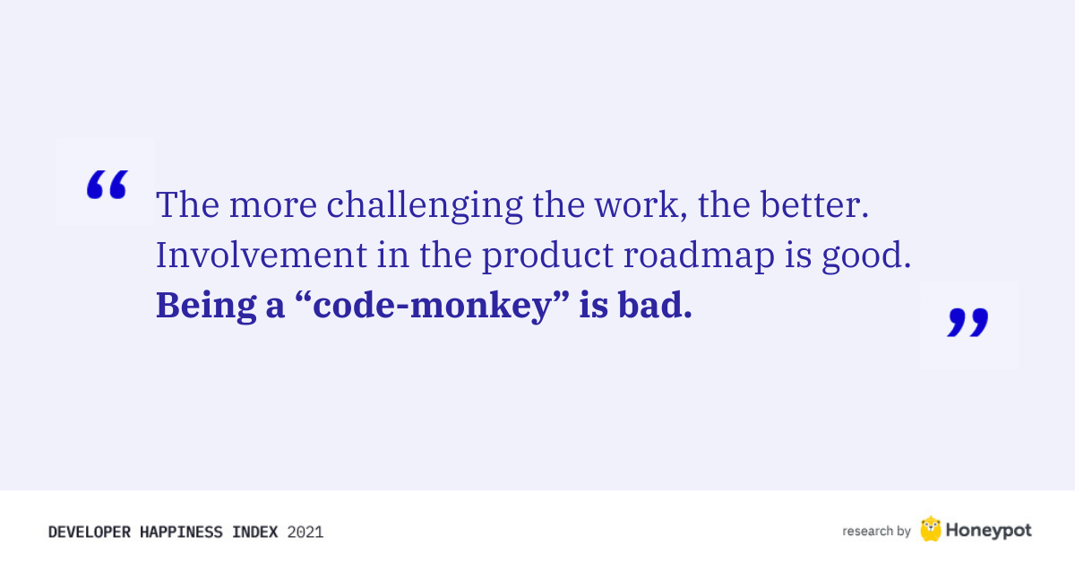"Being a ""code monkey"" is bad"