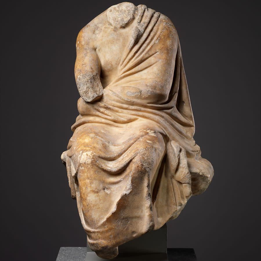 Marble statuette of a philosopher wearing a toga