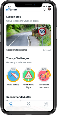 Midrive theory app dashboard iphone x
