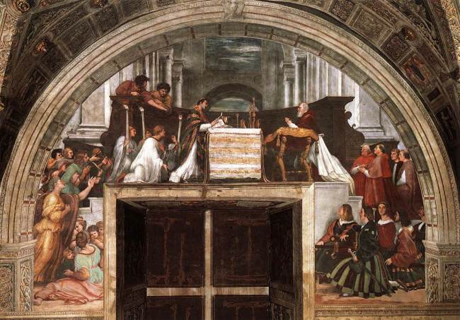 "Raphael's ""Mass at Bolsena,"" depicting the miracle of transubstantiation, in which the bread began to ""bleed."""