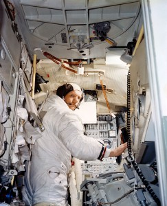 Armstrong training in the lunar module simulator. NASA.