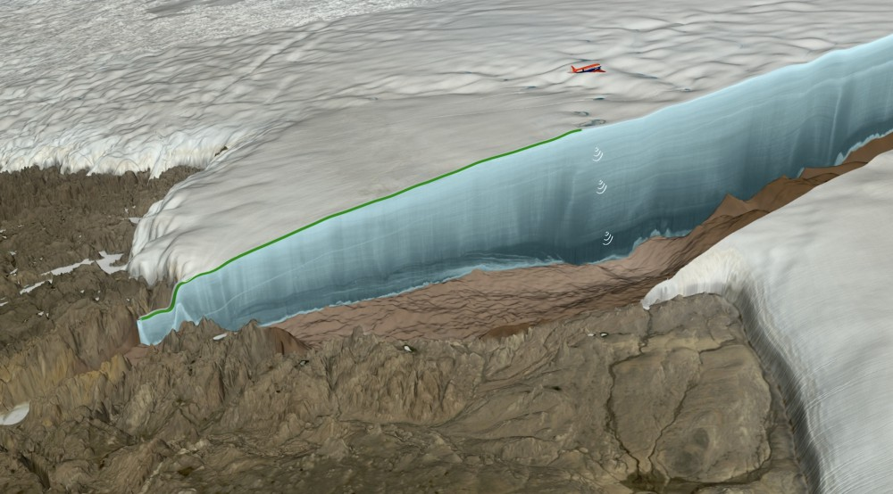 Rendition of the ice radar survey over Hiawatha Glacier by the Alfred Wegener Institute's Polar 6 research aircraft. The radar data reveal both the topography beneath the ice and the layering of the ice itself. (Credit: Natural History Museum of Denmark, Cryospheric Sciences Lab, NASA Goddard Space Flight Center, Greenbelt, MD, USA)