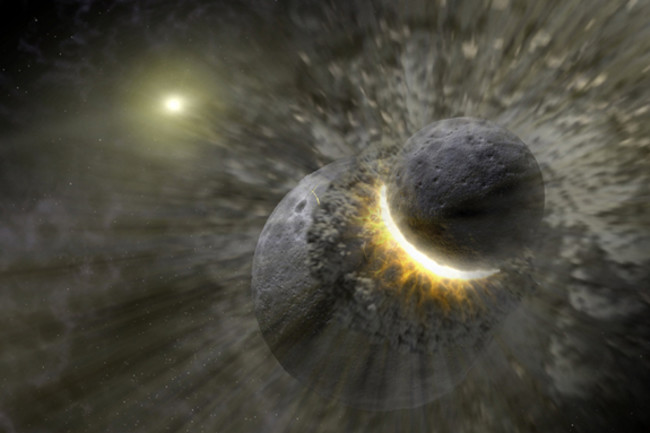 An artist's rendering shows a planetary collision near the star Vega. The Moon may have formed from the debris of such an impact between Earth and a Mars-sized body. Credit: NASA